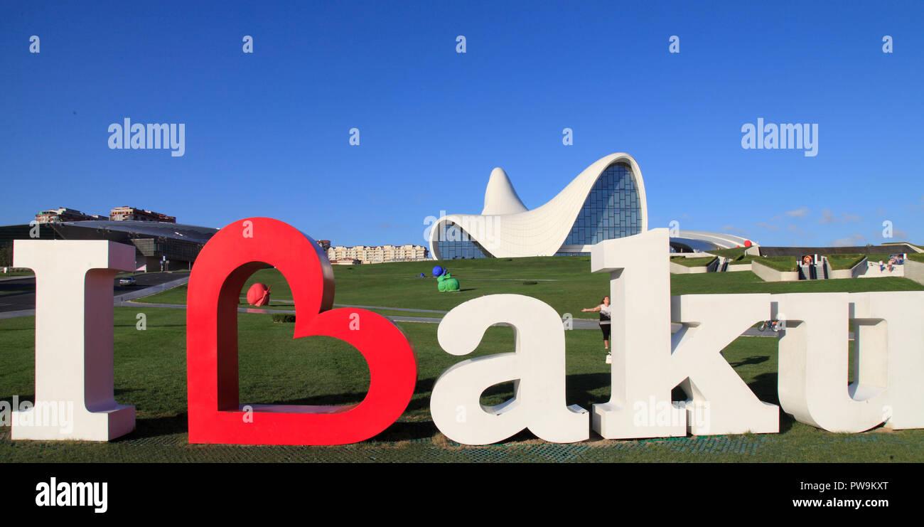 Azerbaijan; Baku, I love Baku sign, Heydar Aliyev Center, - Stock Image