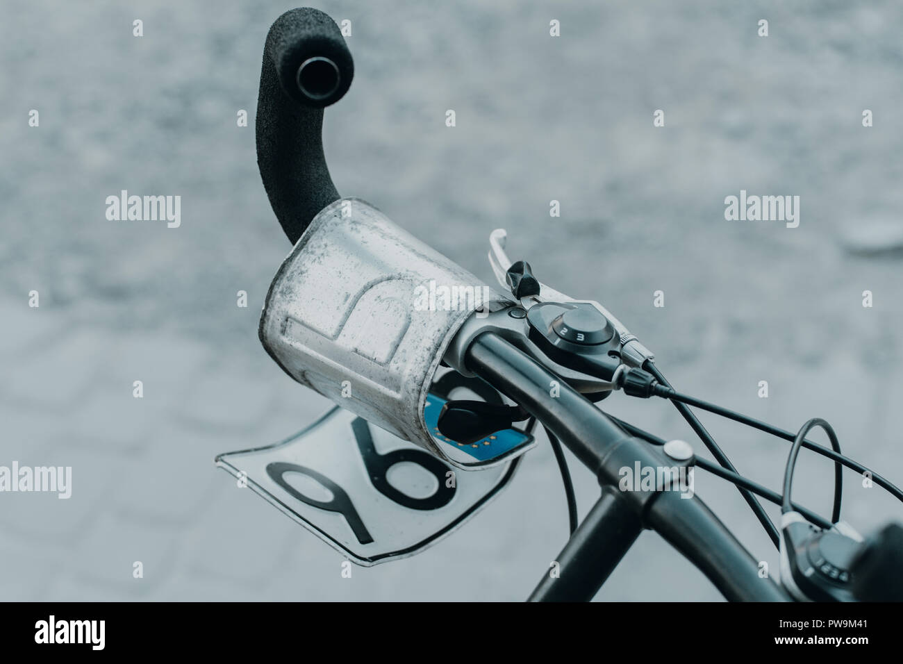 number plate on the bike - Stock Image