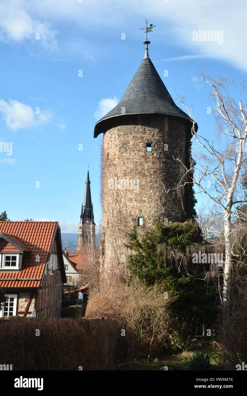 medieval tower in the town of Wernigerode in the Harz Stock Photo