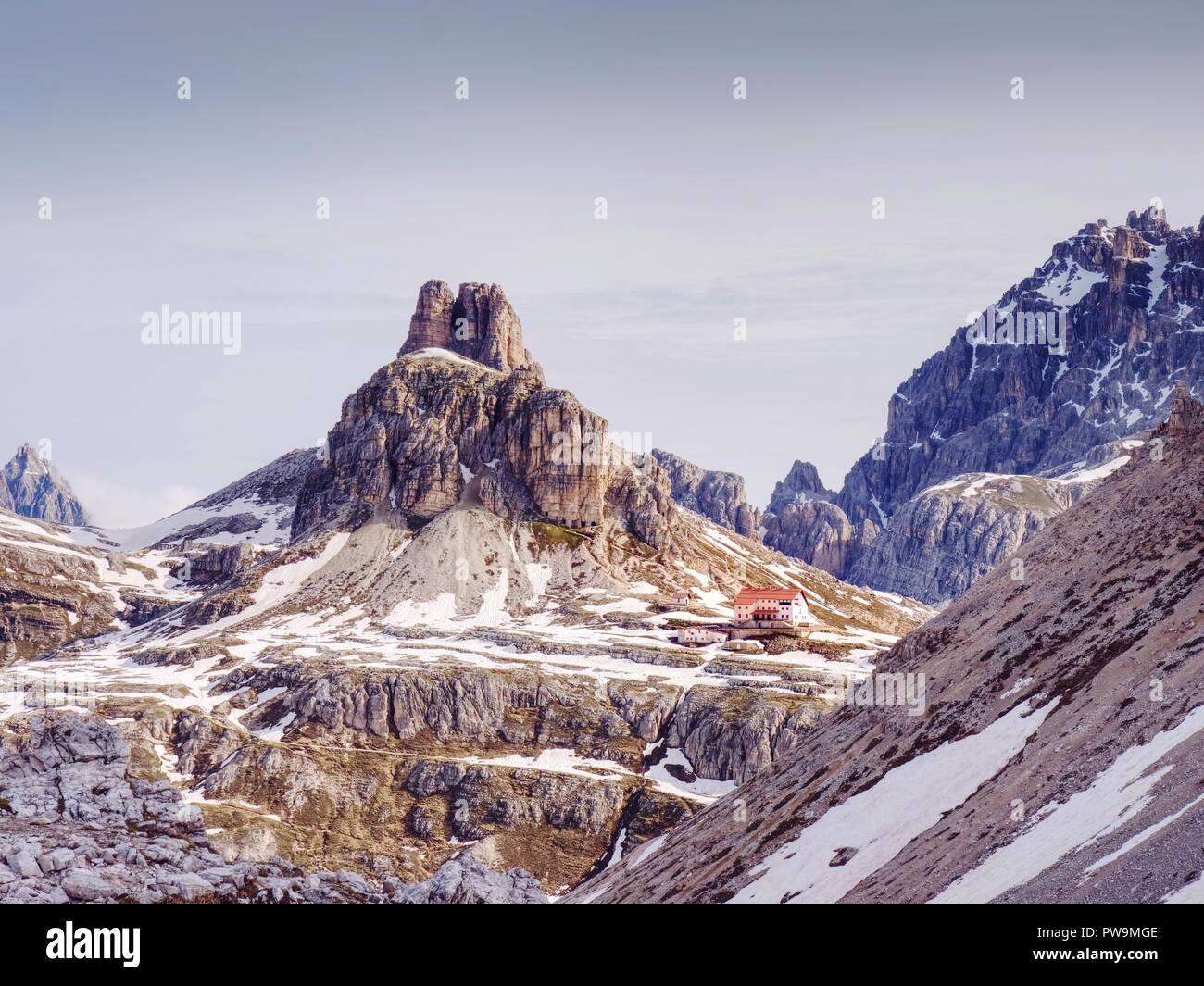 Panorama view of Dolomites Alpine peaks.  South Tyrol region.  Beautiful nature of Italy. - Stock Image