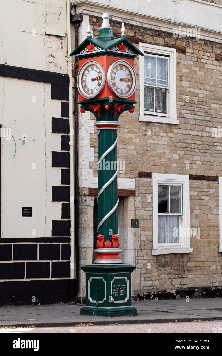 Diamond Jubilee clock, . Erected in 1898 to celebrate Queen Victoria's Diamond Jubilee, Cricklade, Wiltshire, England, UK - Stock Image