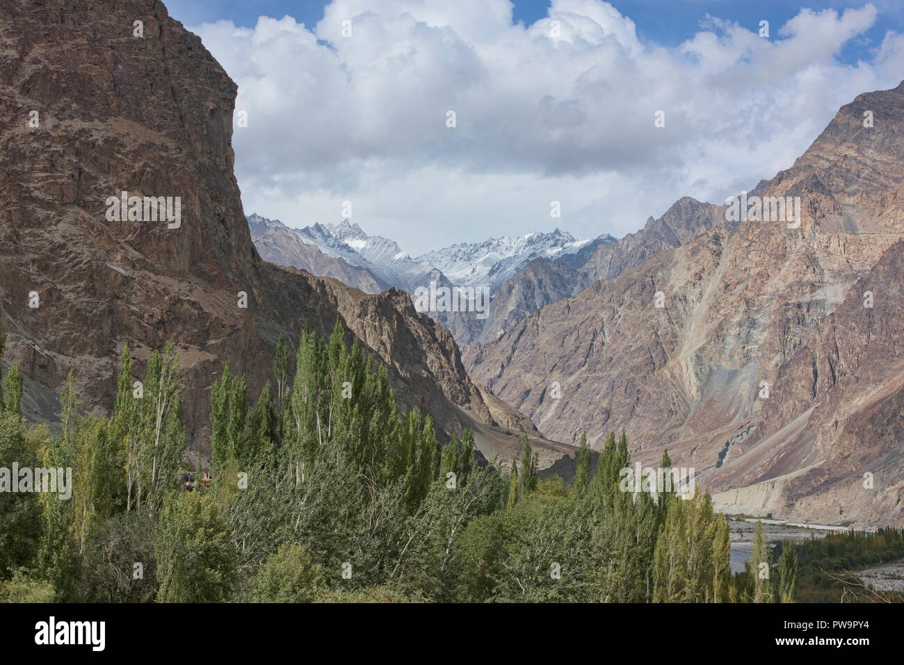 The Karakoram Mountains above Turtuk, Ladakh, India - Stock Image