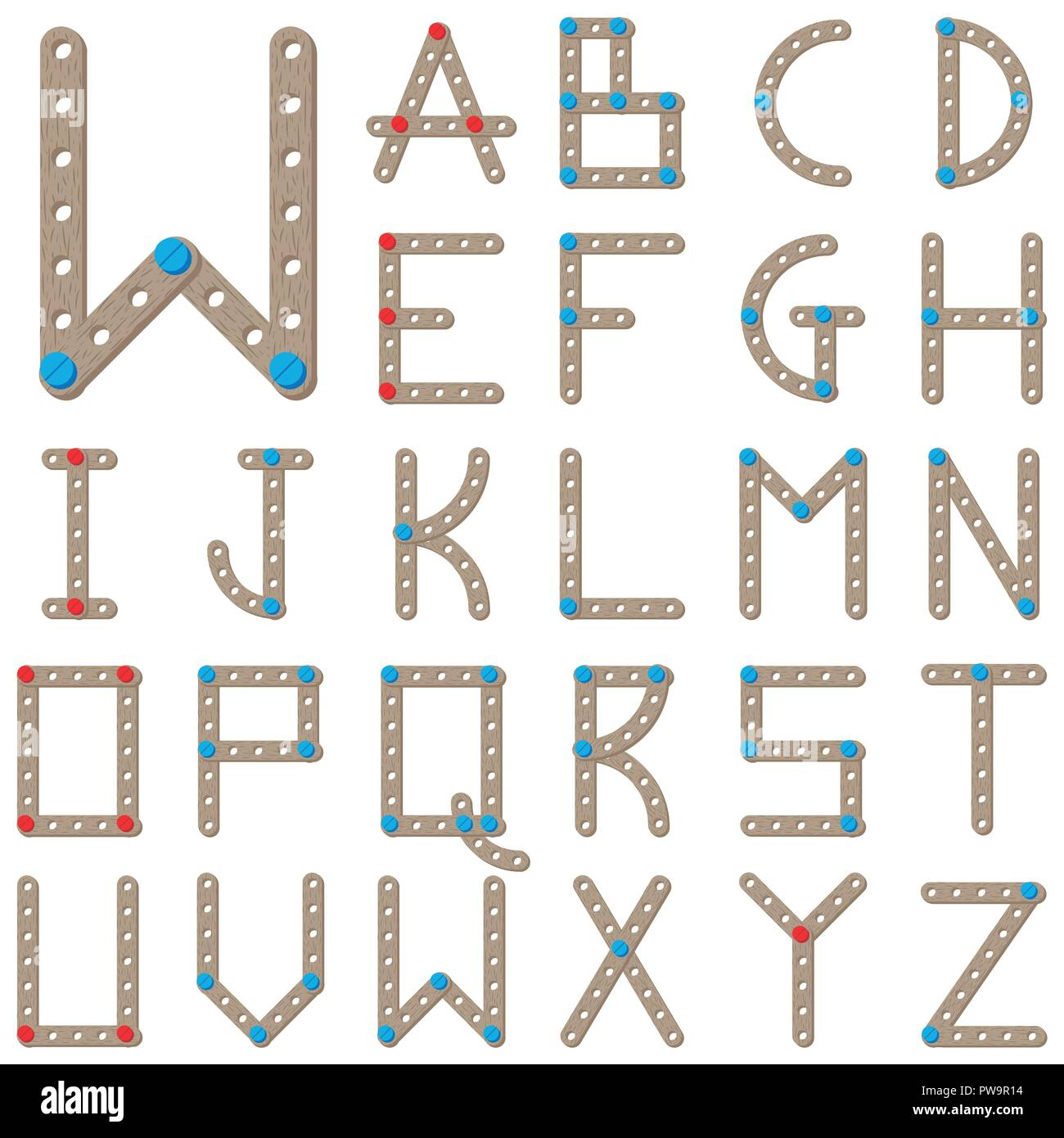 Latin alphabet made of wooden constructor - Stock Image