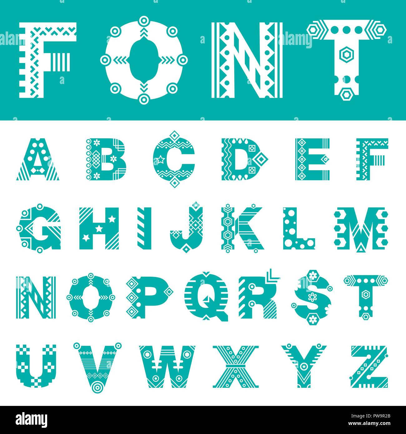 Font with ornament. Typeface of latin letters - Stock Image