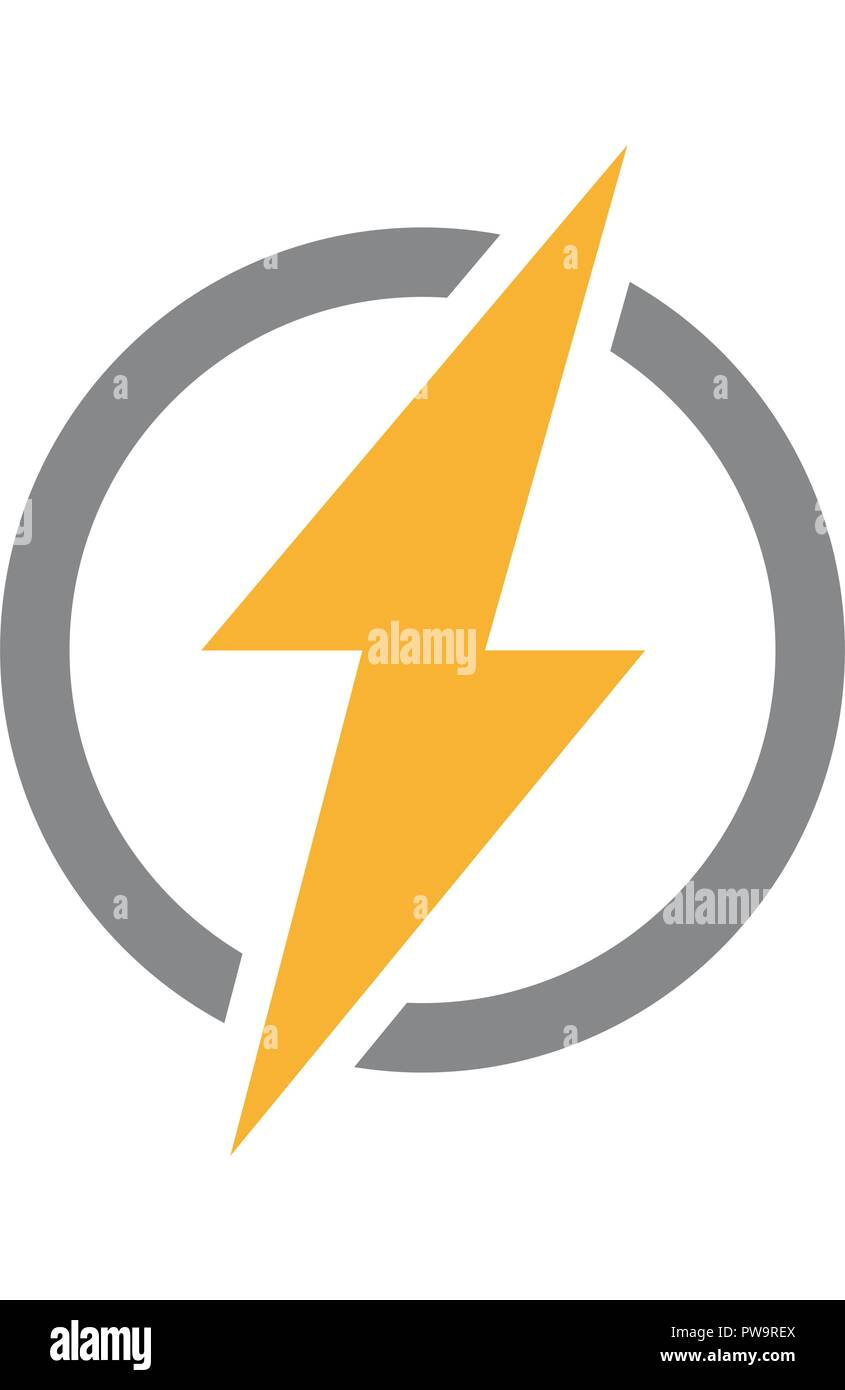 Vector lightning bolt with circle logo. Unique thunder and flash ...