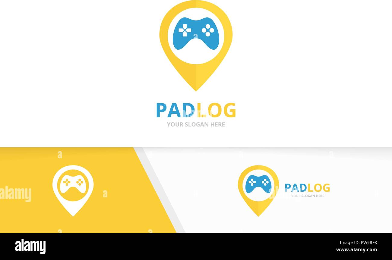 Vector joystick and map pointer logo combination. Gamepad and gps locator symbol or icon. Unique console controller and pin logotype design template. - Stock Vector