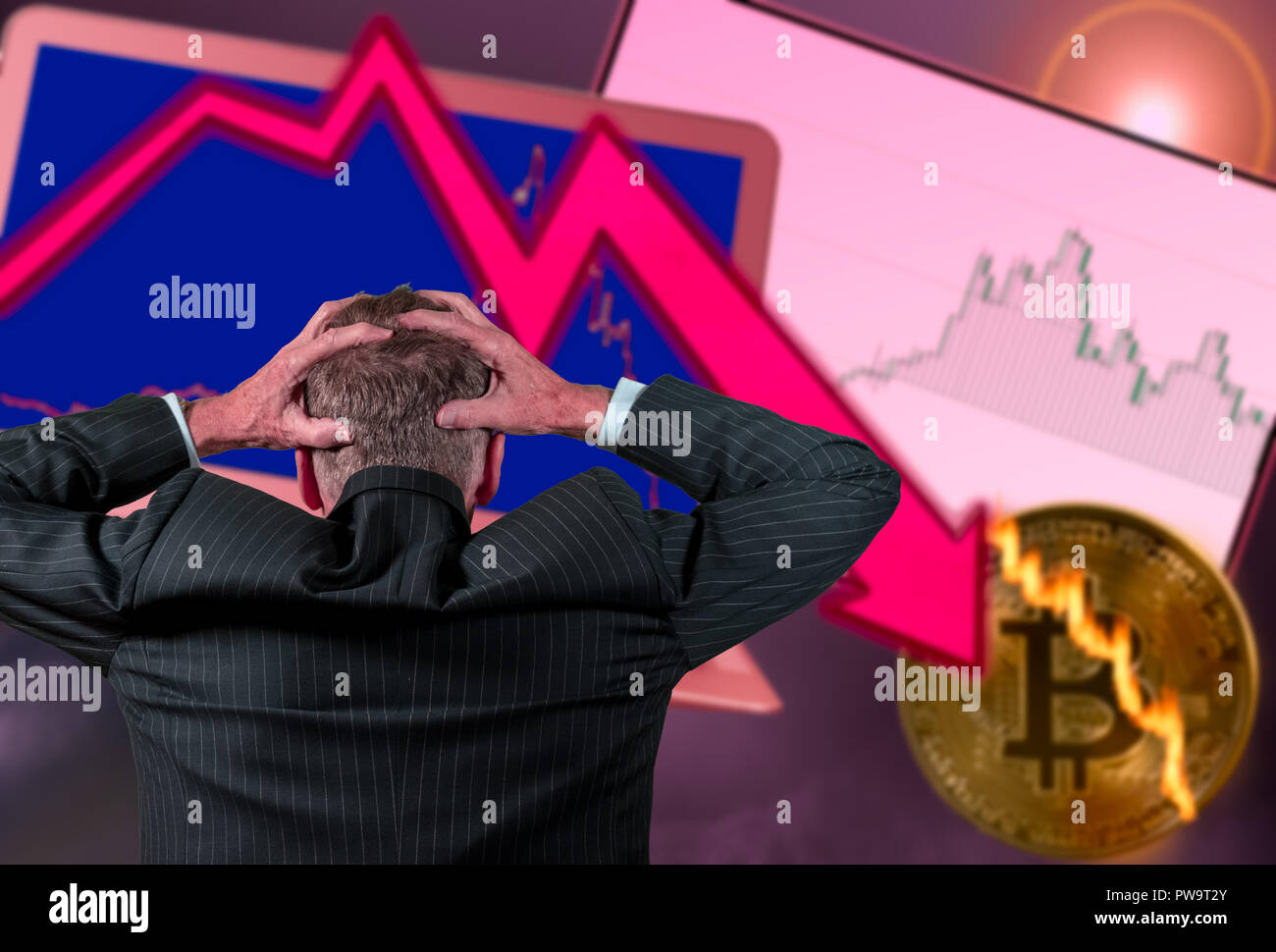 Senior retired man worried about stock market crash - Stock Image