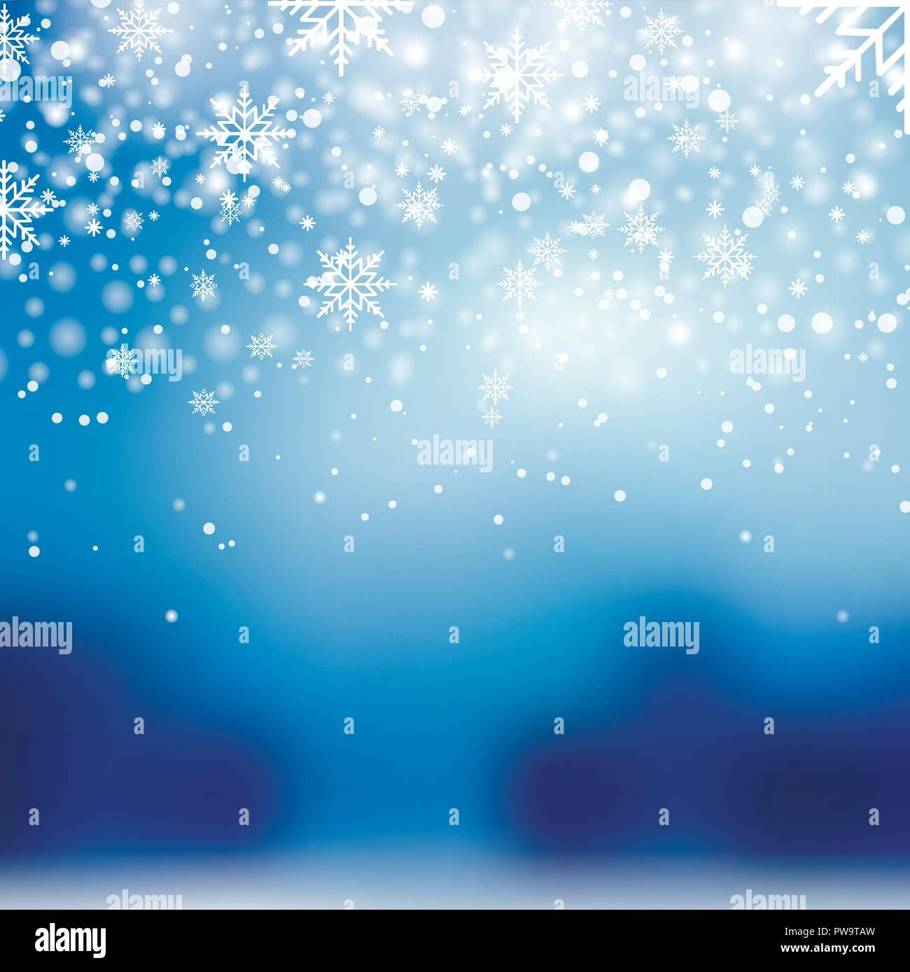 falling shining snow or snowflakes on blue background for happy new year vector