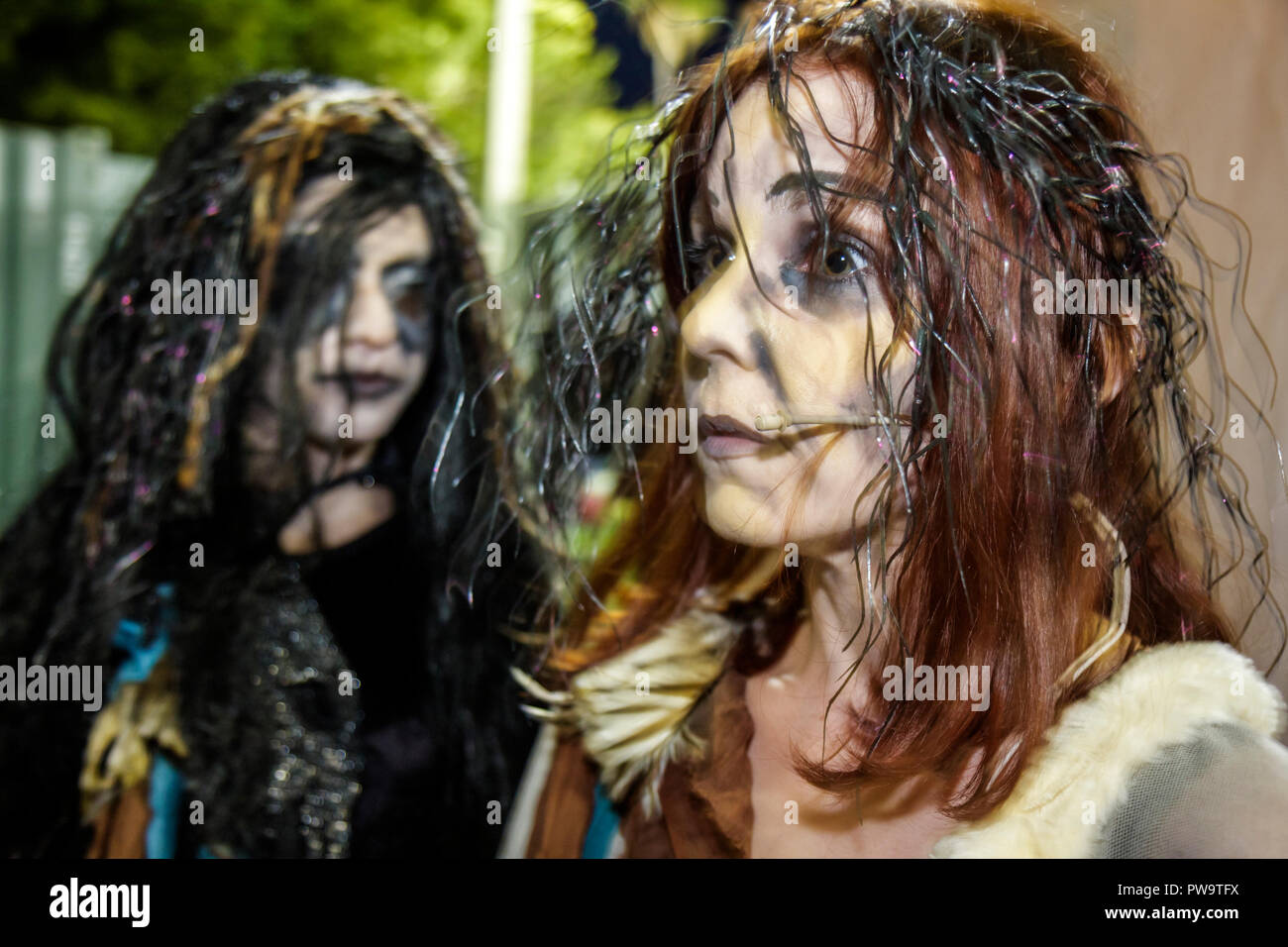 Miami Beach Florida Flamingo Park Arts in the Park Shakespeare Macbeth actor acting role play theater woman women theatrical mak - Stock Image