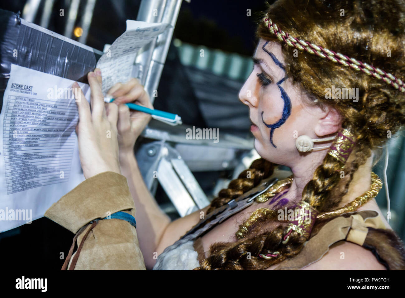 Miami Beach Florida Flamingo Park Arts in the Park Shakespeare Macbeth actor acting role play theater woman theatrical makeup dr - Stock Image