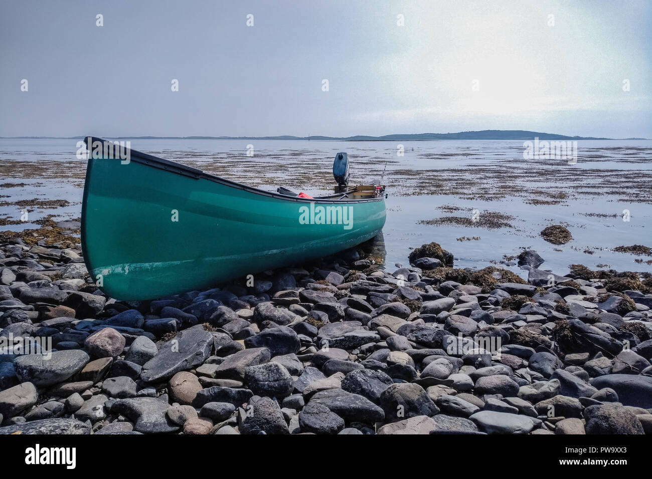 Canoeing Northern Ireland. Time for a bbq stop - Stock Image
