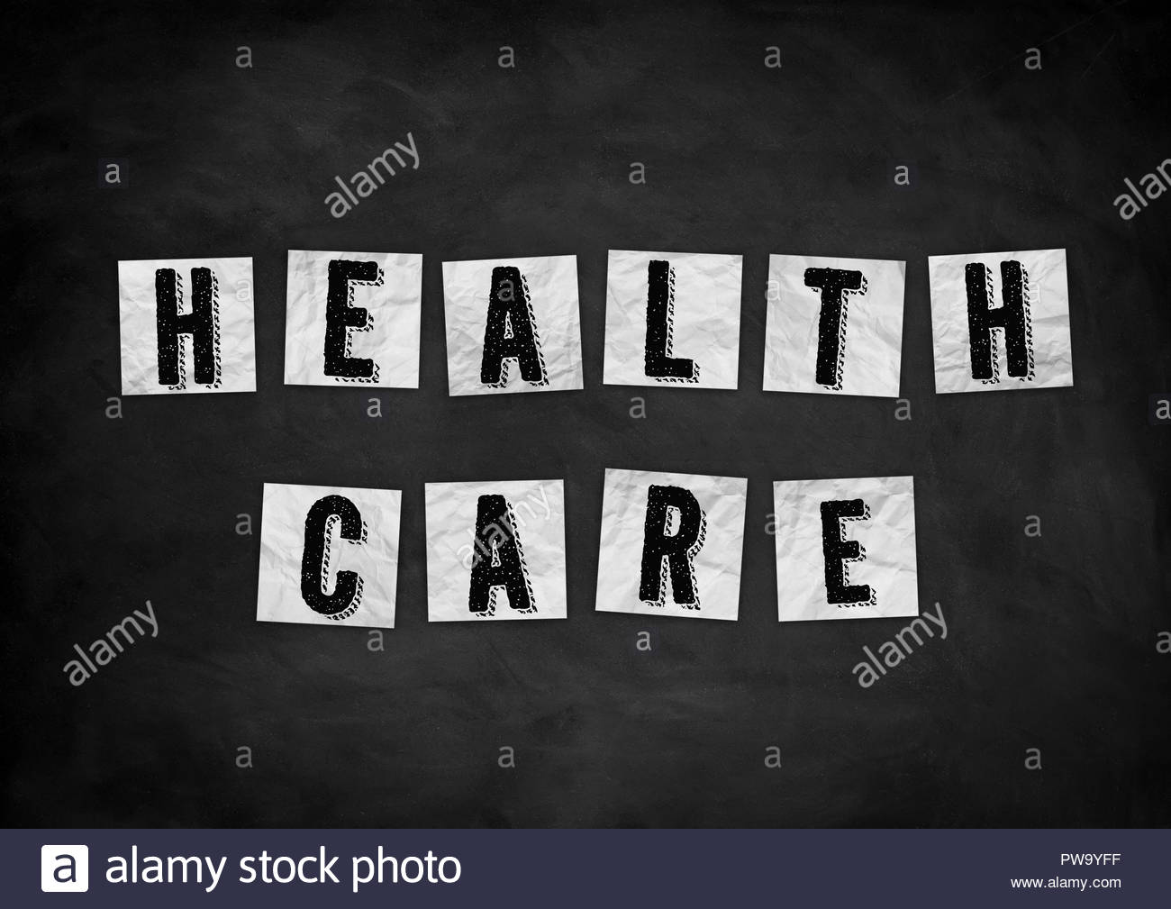 Health care chalkboard concept - Stock Image