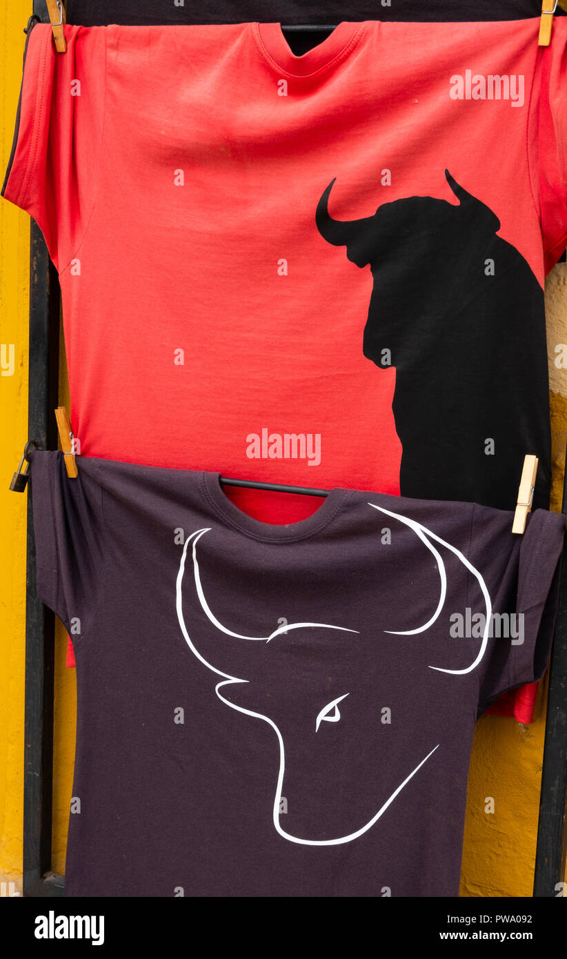 Bullfight tee shirts for sale near the bullring in Seville, Andalusia, Spain - Stock Image