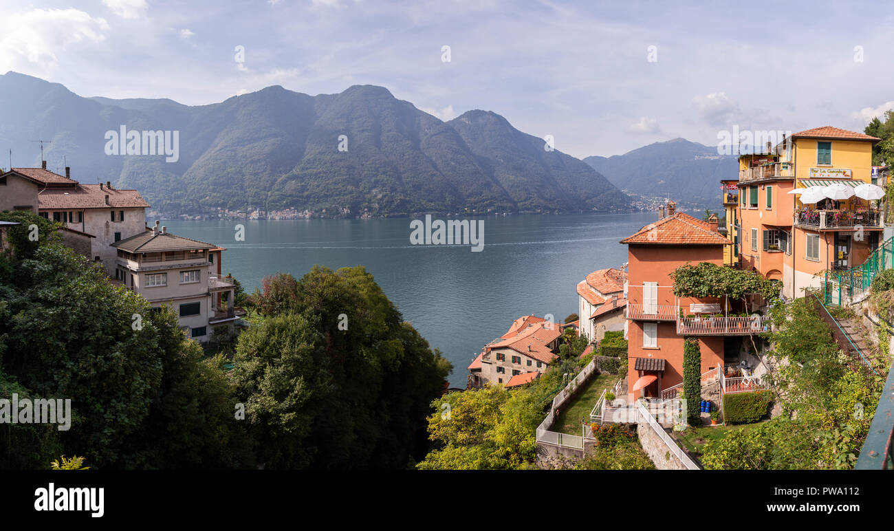 The waterfront town of Nesso on Lake Como, Italy Stock Photo