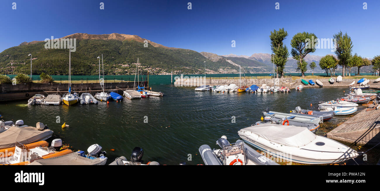 Small boats in the harbour at Dervio on Lake Como, Italy Stock Photo