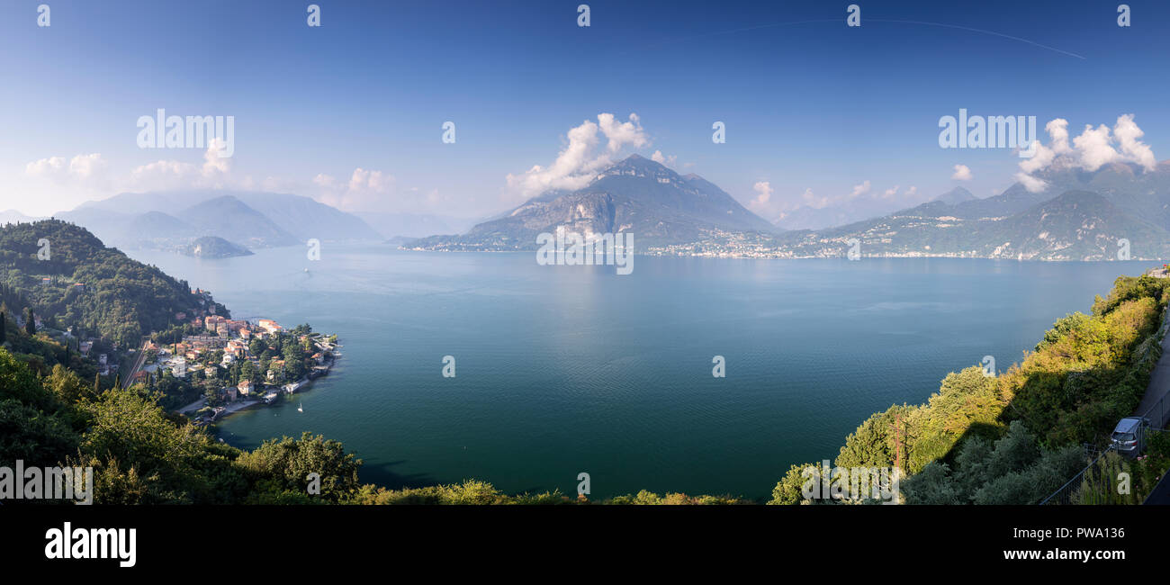 Panorama overlooking Lake Como and surrounding mountains in northern Italy - Stock Image