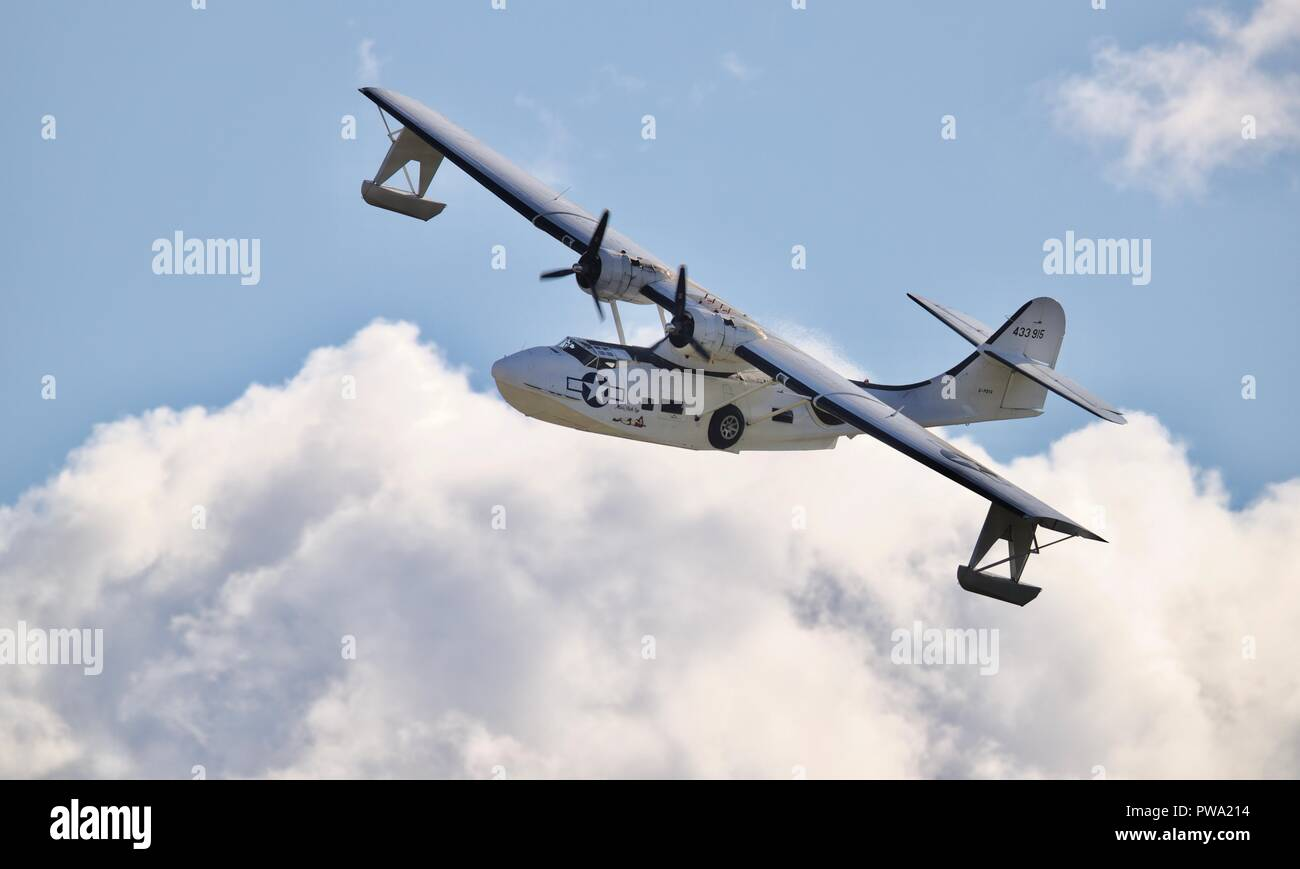 Consolidated PBY-5A Catalina flying at the IWM Duxford Battle of Britain Airshow on the 23 September 2018 - Stock Image