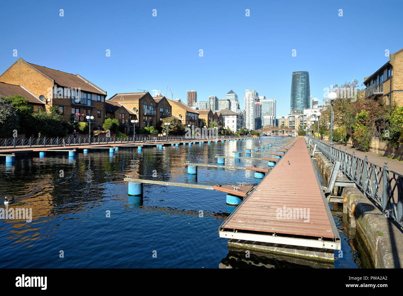 Clippers Quay, Millwall Outer Dock Canary Wharf London Docklands England UK - Stock Image