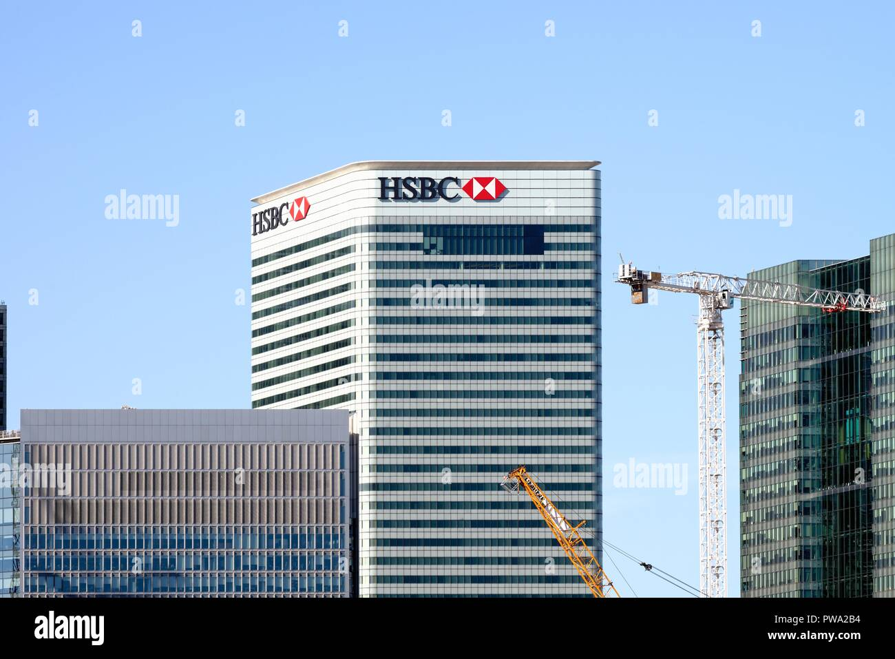 The headquarters of the HSBC Bank at Canary Wharf Docklands London England UK - Stock Image