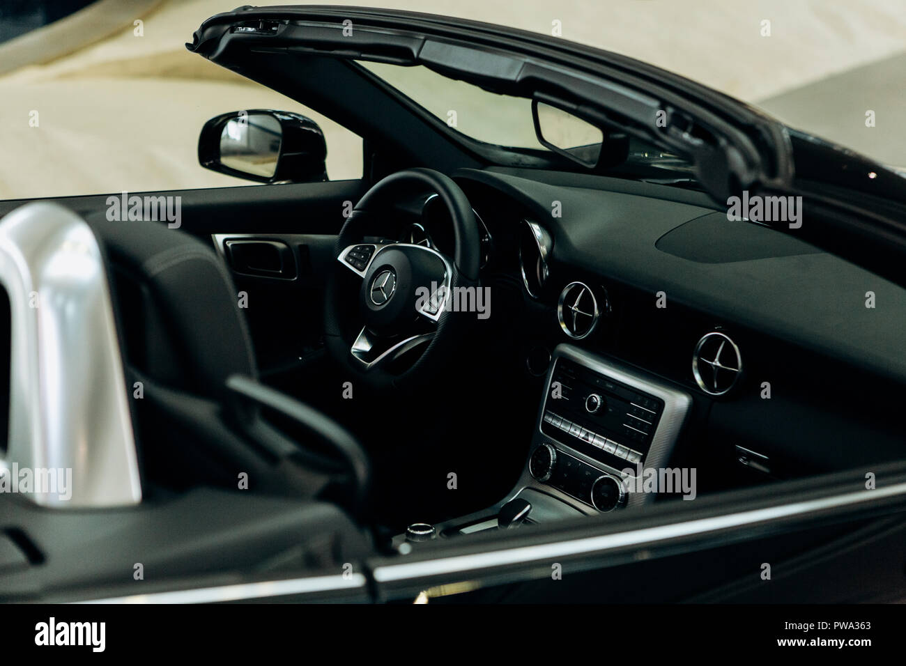 Berlin August 29 2018 Inside The New Mercedes Benz Car Steering
