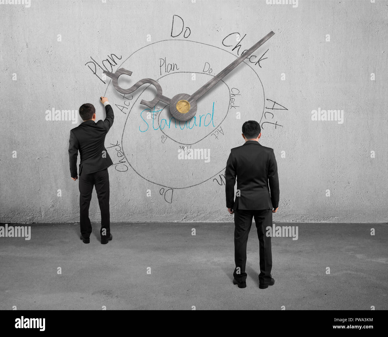Businessman sketching PDCA cycle on concrete wall with clock hands - Stock Image