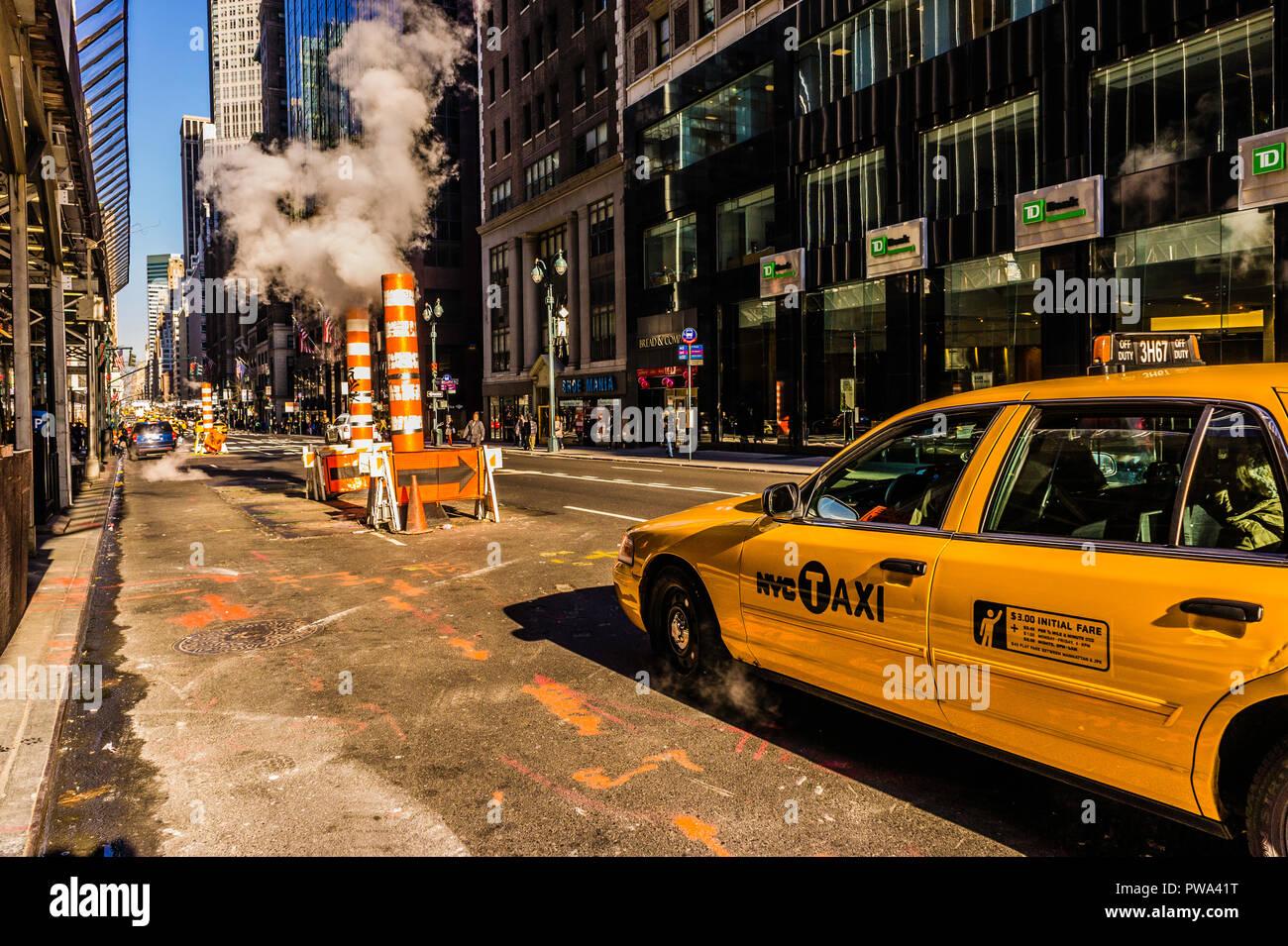 New York City steam system Vents Manhattan _ New York, New York, USA - Stock Image