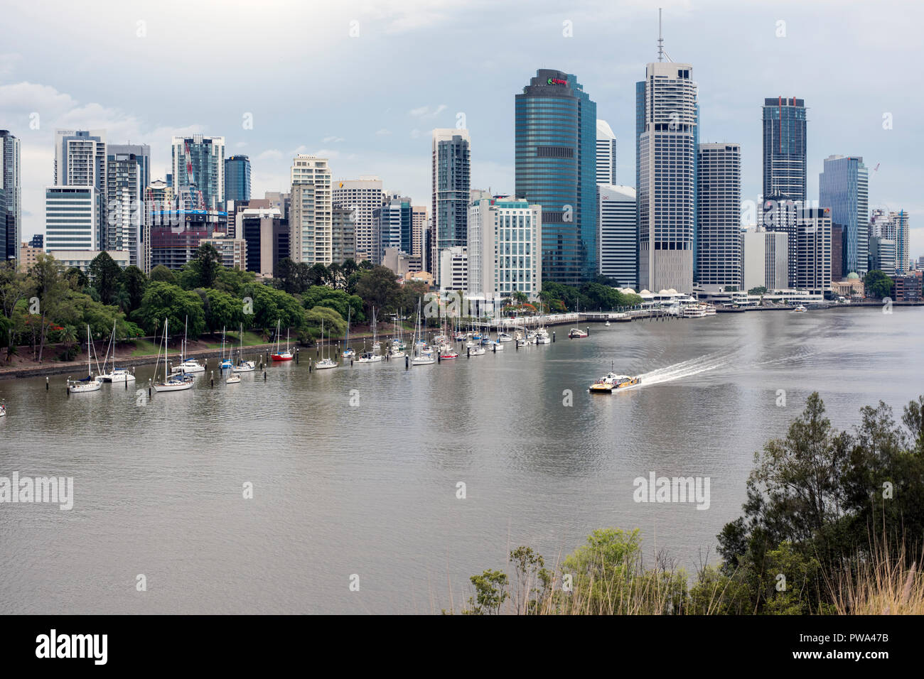 View of Brisbane, Queensland, Australia and Brisbane River  from a high balcony - Stock Image