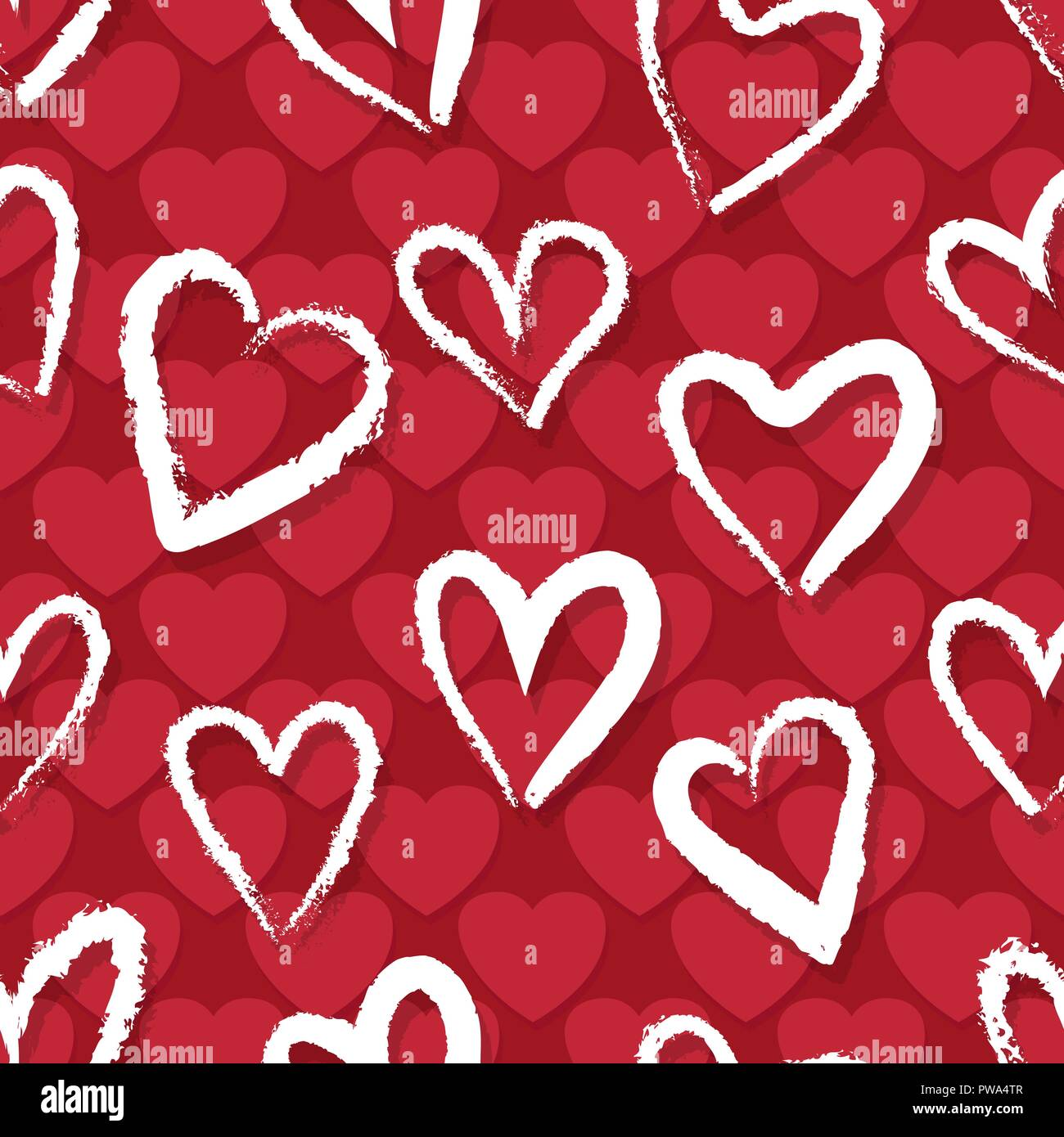 Red Hearts Pattern Heart Vector Print Love Seamless Wallpaper
