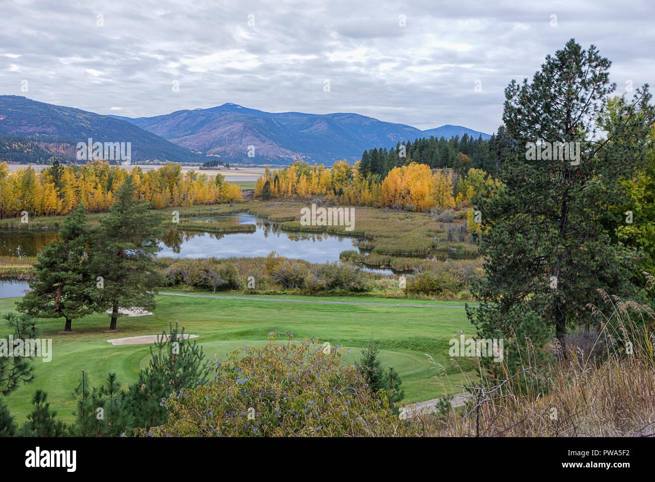 Fall landscape along Deep Creek Loop near Bonners Ferry, Idaho - Stock Image