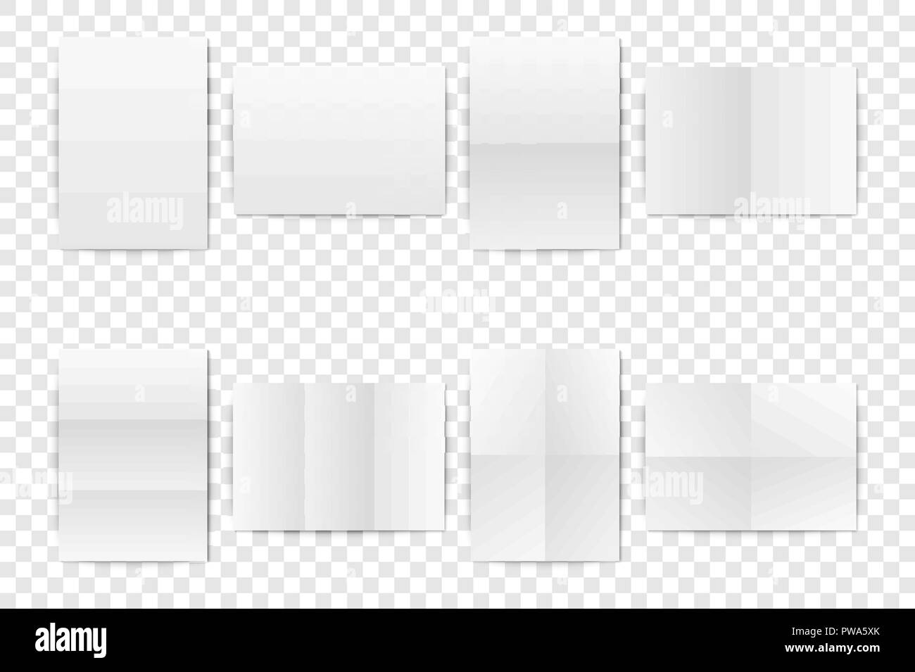 Vector Realistic White Blank Vertical A4 Folded Paper Sheet Poster