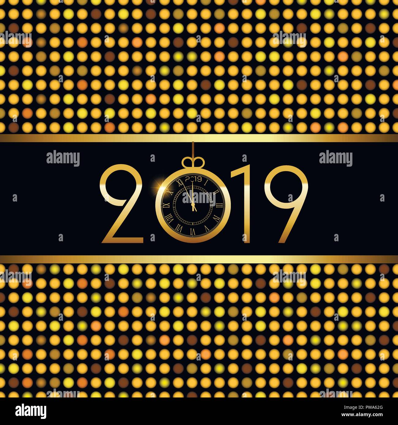 happy new year or christmas greeting card luxury golden text vector