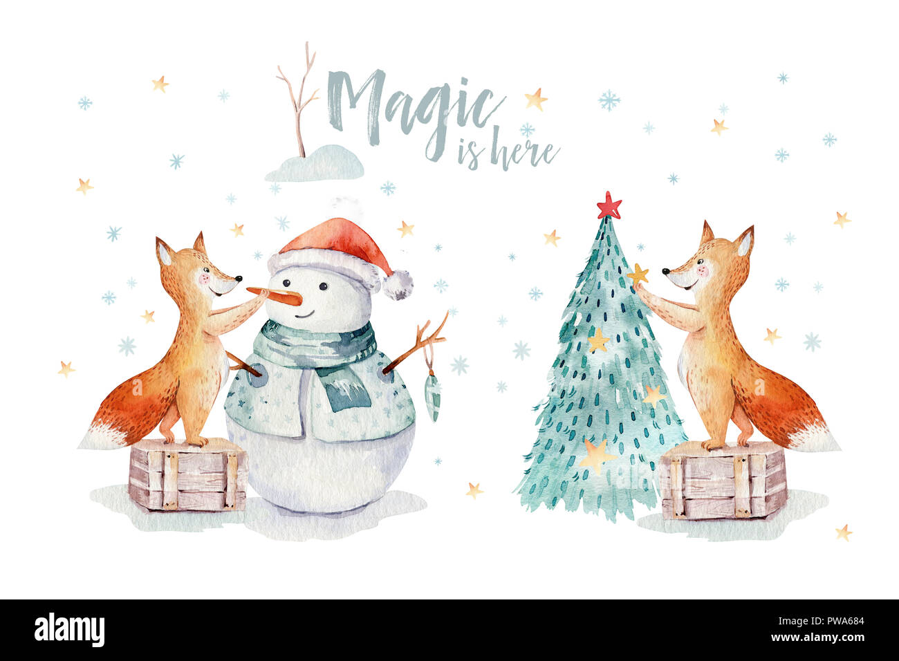 Merry Christmas Illustration.Watercolor Merry Christmas Illustration With Snowman