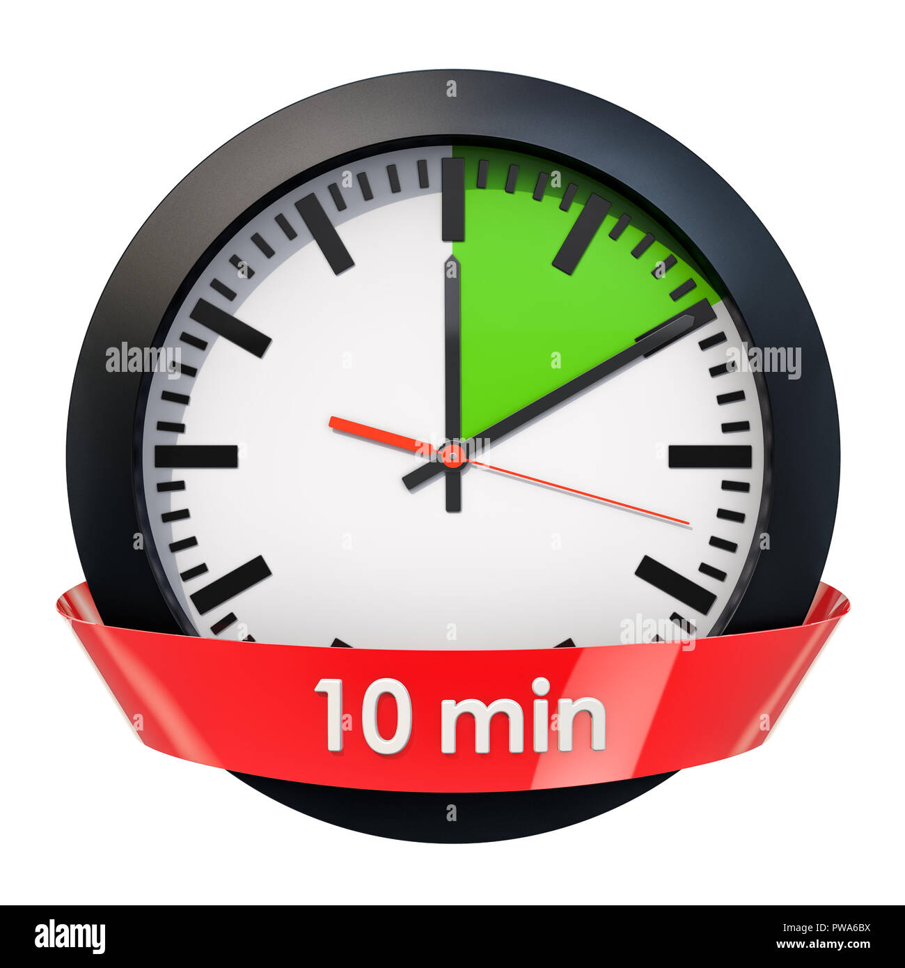 clock face with 10 minutes timer  3d rendering isolated on