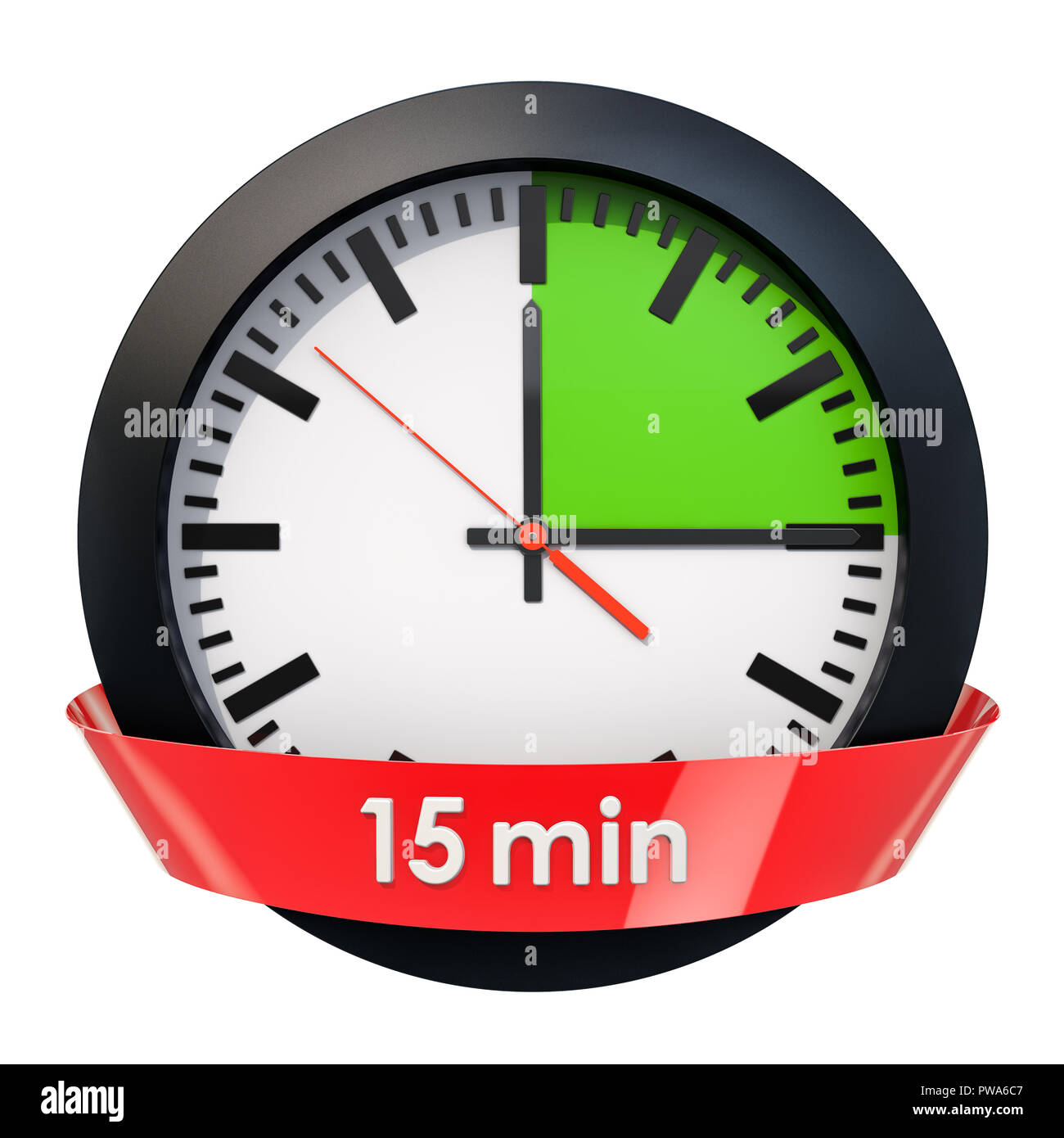 clock face with 15 minutes timer  3d rendering isolated on