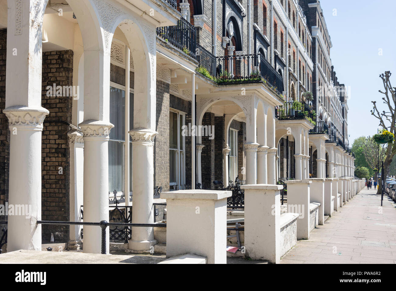 Period terraced properties, Randolph Avenue, Maida Vale, City of Westminster, Greater London, England, United Kingdom - Stock Image