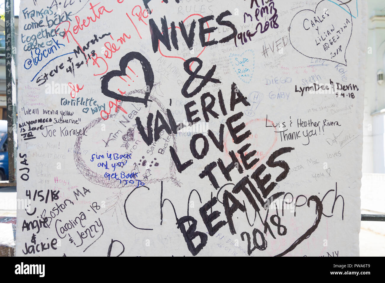 The Beatles fan graffiti on column, Abbey Road, St John's Wood, City of Westminster, Greater London, England, United Kingdom - Stock Image