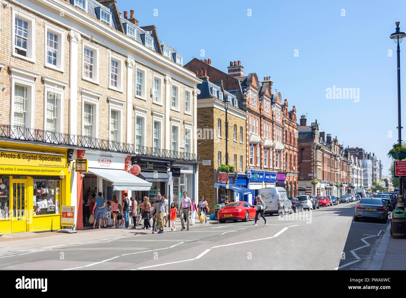 St John's Wood High Street, St John's Wood, City of Westminster, Greater London, England, United Kingdom - Stock Image