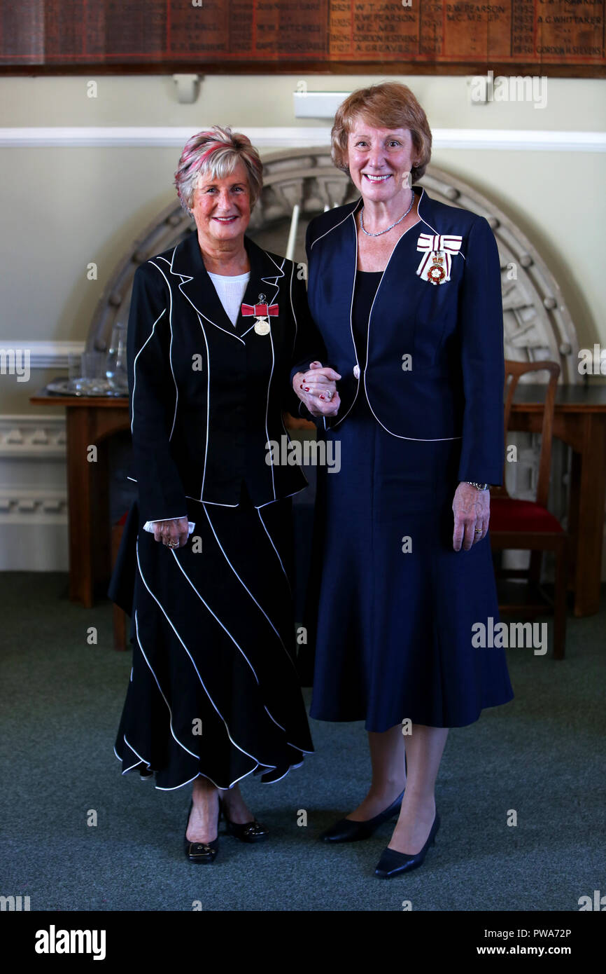 Hazel Latus, Chief Executive of a charity pictured receiving her British Empire Medal from Lord Lieutenant of West Sussex, Susan Pyper in Arundel. - Stock Image