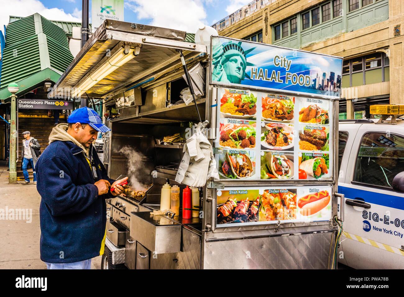 Halal Food Vendor Queensboro Plaza Subway Station Long