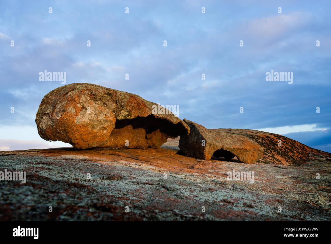 Weathered granite boulders on top of Pildappa Rock, Eyre Peninsula South Australia Stock Photo