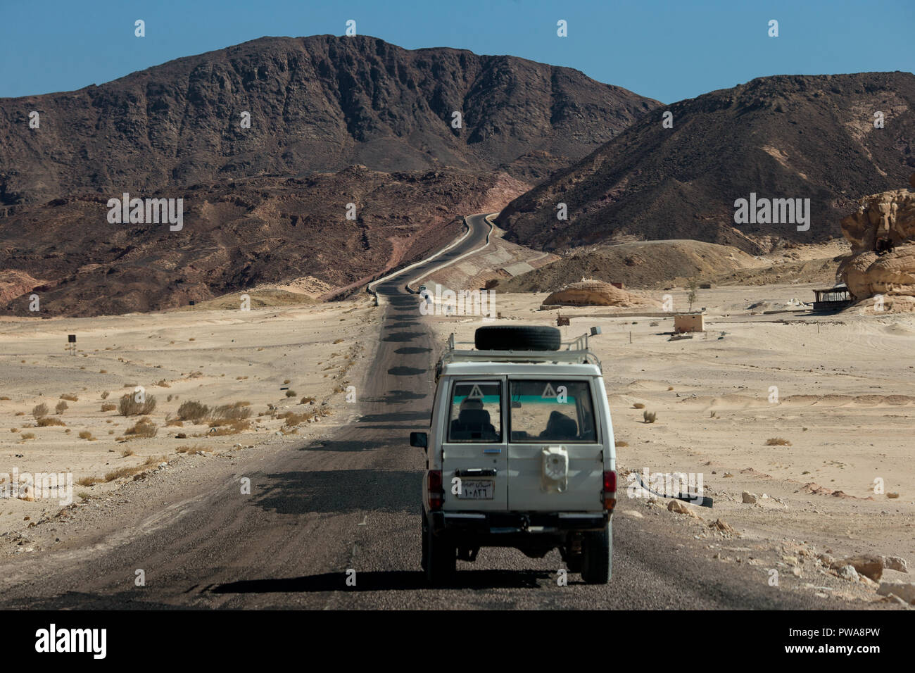 Road in South Sinai. Saint Catherine. Egypt. - Stock Image