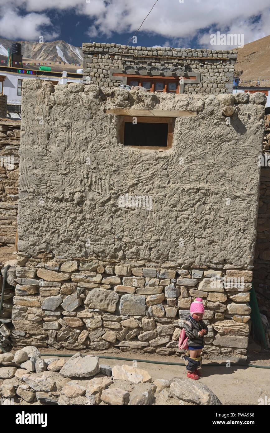 Caught with her pants down, Korzok, Ladakh, India - Stock Image
