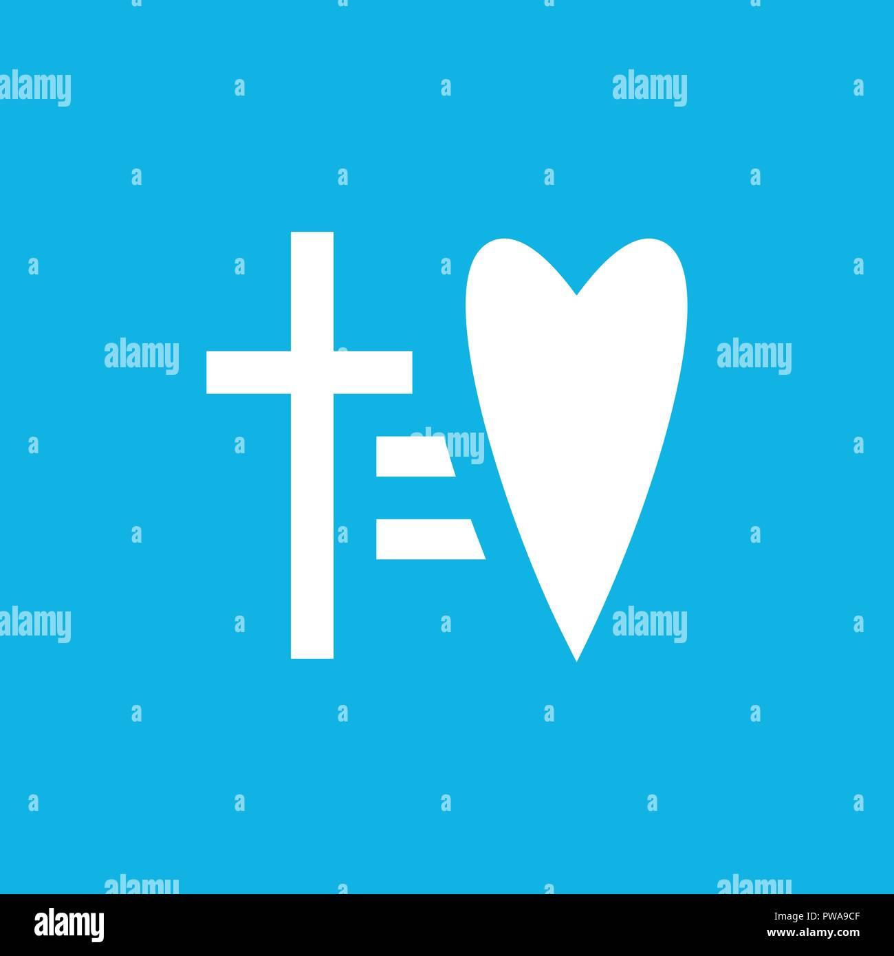 cross equal to heart vector icon laconic religious symbol logo