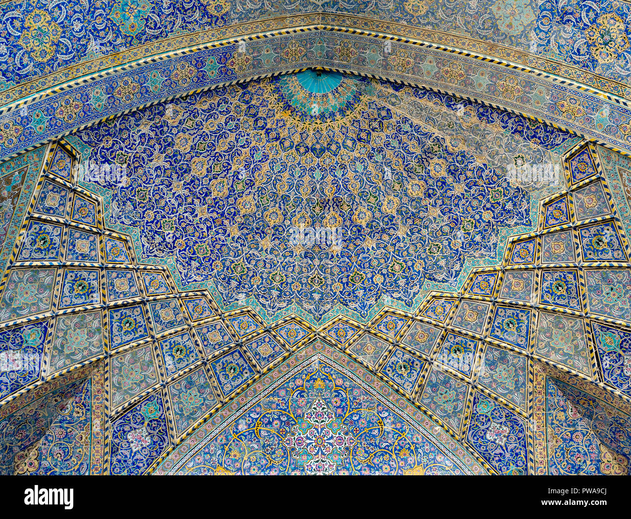 Tile decorated dome at Seyyed mosque, Isfahan, Iran - Stock Image