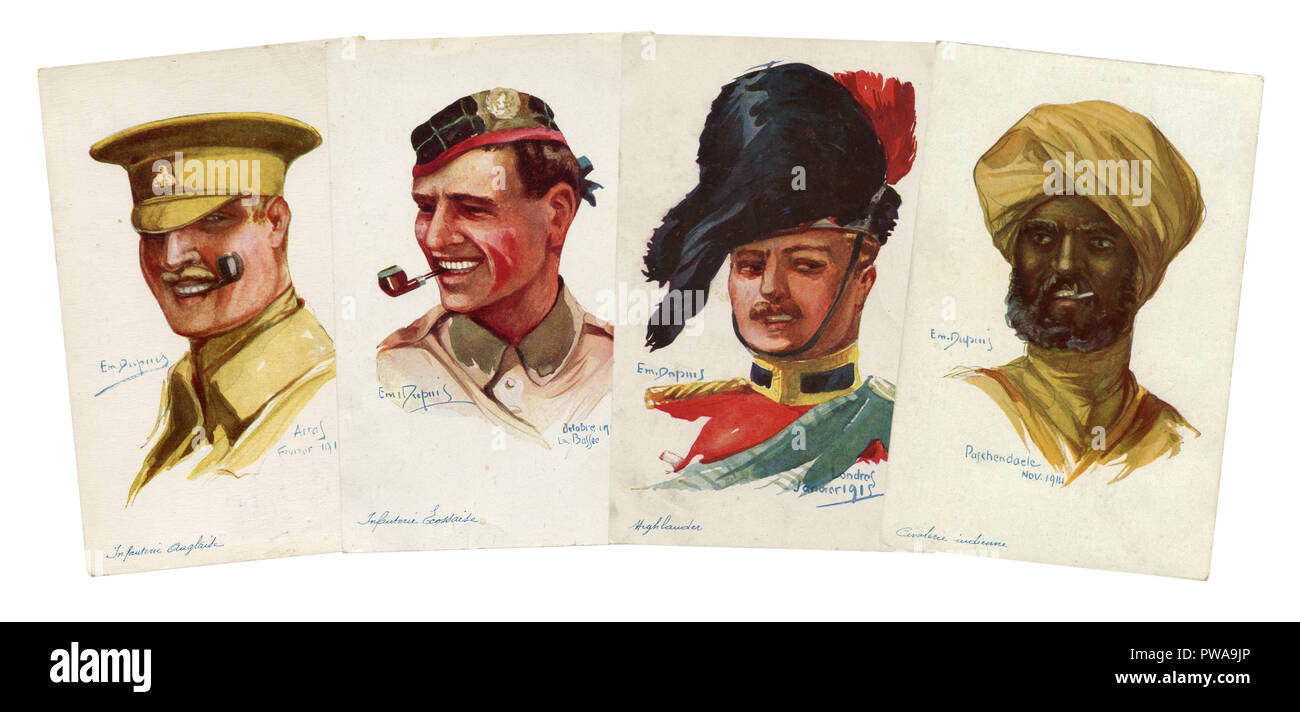 Four historical postcards: portraits of British and Scottish soldiers and Indian cavalryman. infantry, cavalry. colonial troops. world war I 1914-1918 - Stock Image