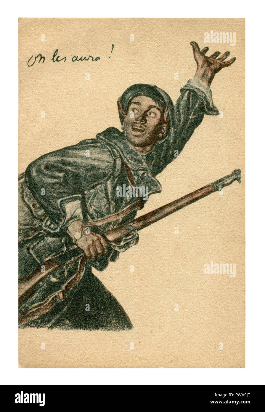 Old French propaganda postcard: a brave man with a rifle calling for him to the front. Recruitment Poster. World war I 1914-1918, France, Entente. - Stock Image