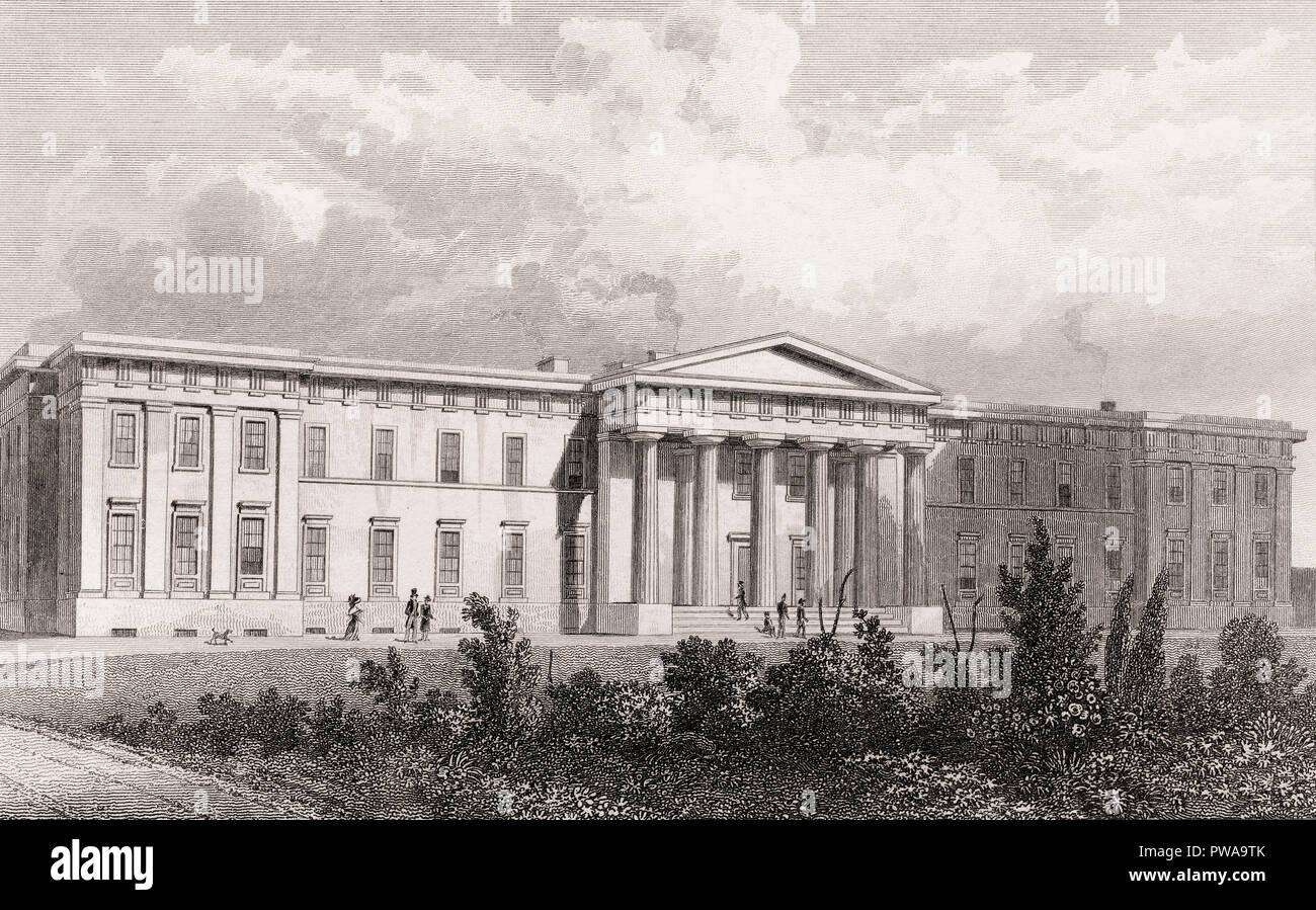 The New John Watson's Hospital, Edinburgh, Scotland, 19th century, from Modern Athens by Th. H. Shepherd - Stock Image