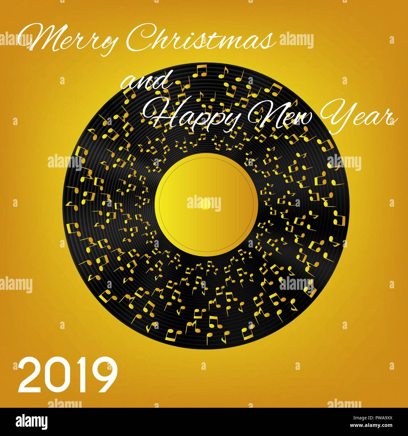 2019 Christmas Music.2019 Happy New Year And Merry Christmas On Abstract Music