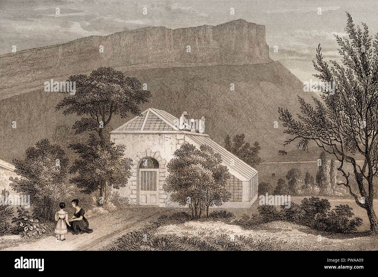 A Summer-house in Regent Murray's Garden, Canongate, Edinburgh, Scotland, 19th century, from Modern Athens by Th. H. Shepherd - Stock Image