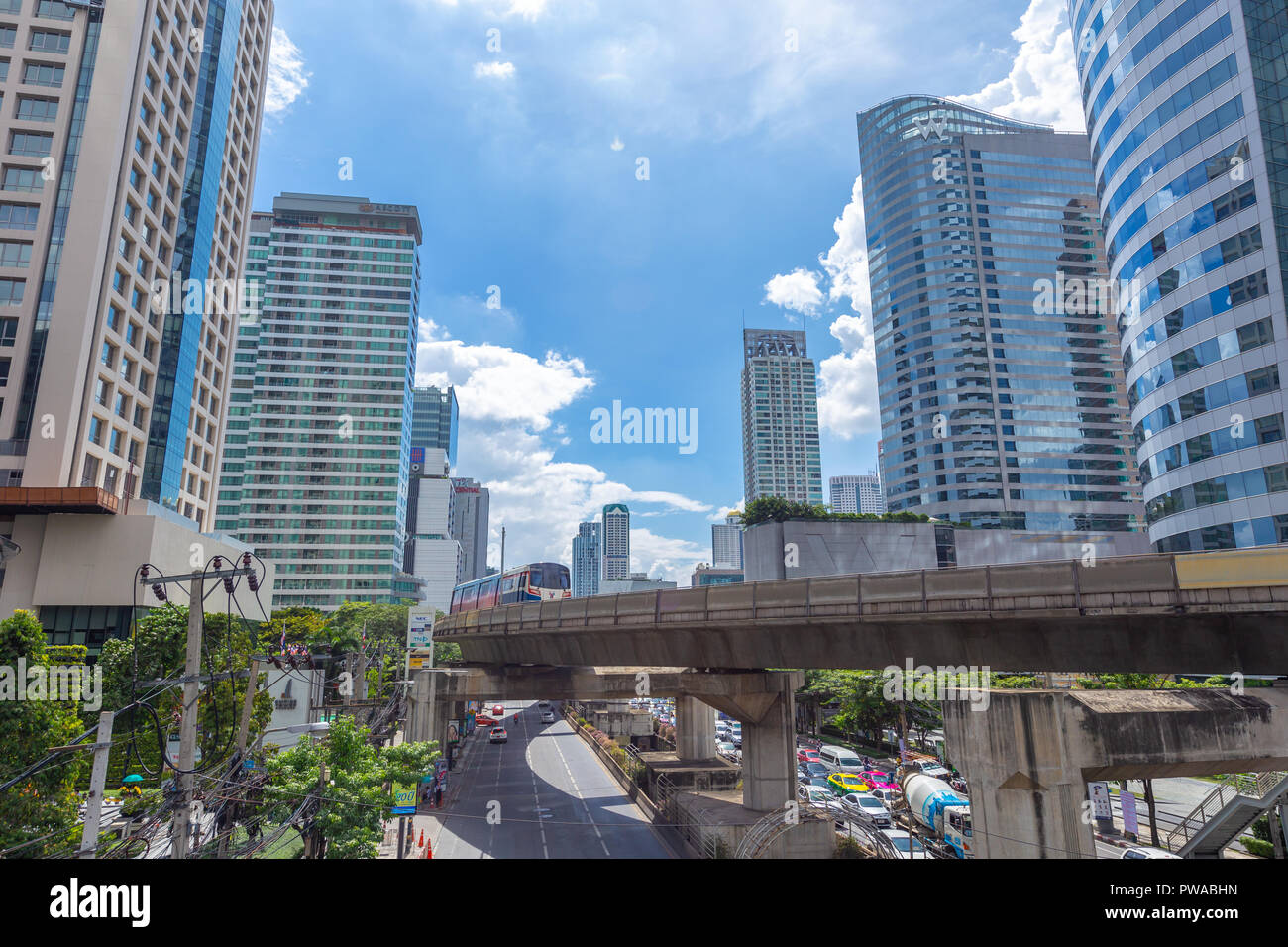 Bangkok business office building city view with BTS skyrail